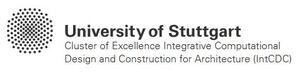"""Logo Universität Stuttgart, Exzellenzcluster """"Integratives computerbasiertes Planen und Bauen für die Architektur (IntCDC)"""""""